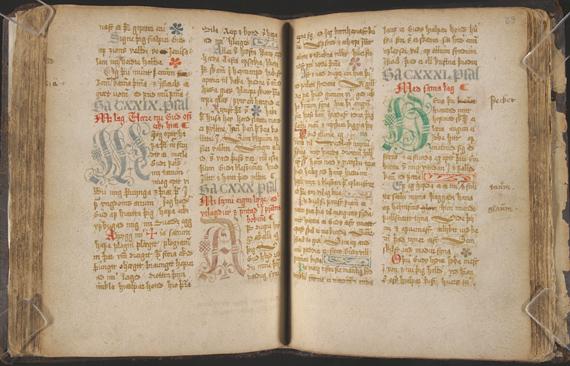 Davíþspsálmar. Manuscript, 17th century. Fiske Icelandic Collection. Icelandic translation of the Psalms by séra Jón Þorsteinsson (1570?-1627), bound with his Genesis sálmar. The Psalms of David are in one seventeenth-century Icelandic hand.