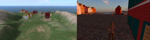 Bergen under development on the left. The finished product on the right.